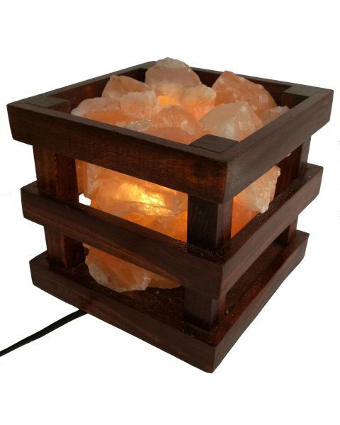 Boxed Wooden Fire Bowl Himalayan Salt Lamp