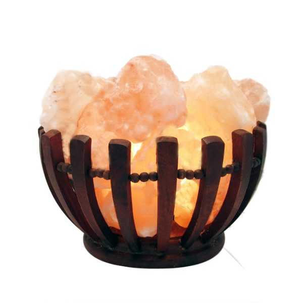 Clawed Wooden Fire Bowl Himalayan Salt Lamp