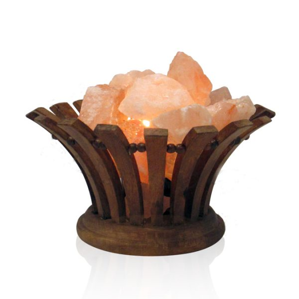 Flared Wooden Fire Bowl Himalayan Salt Lamp